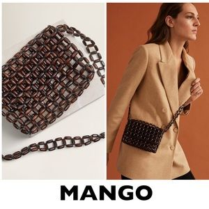 MANGO Brown Beaded Wood Bag with Crossbody Straps
